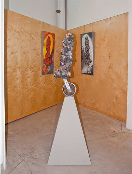 we are inseparable from the choices we make (even after the moment has passed), 2010.   sculpture: 61cm x 61cm x 173cm,   tableaux: 61cm x 91cm
